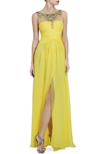 bcbgmaxazria harlo gown yellow