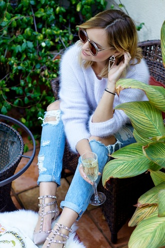 late afternoon blogger lilac fluffy jumper earrings sunglasses ripped jeans