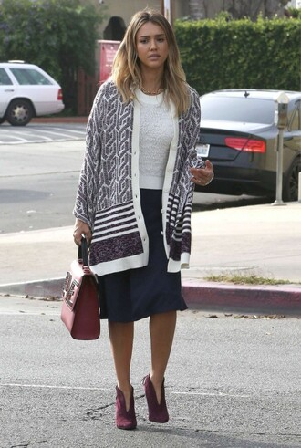 cardigan ankle boots jessica alba fall outfits
