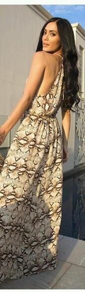 dress,maxi dress,snake skin print