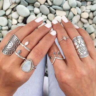 jewels silver gold jewelry boho chic boho jewelry diamonds diamond ring opal hippie indie boho indie hippie jewelry cute love beautiful layers white black nails ring knuckle ring brass