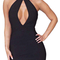Halter cut out bandage dress black