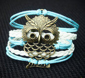 jewels,bracelets,owl,jewelry,blue and white,leather,handmade,diy