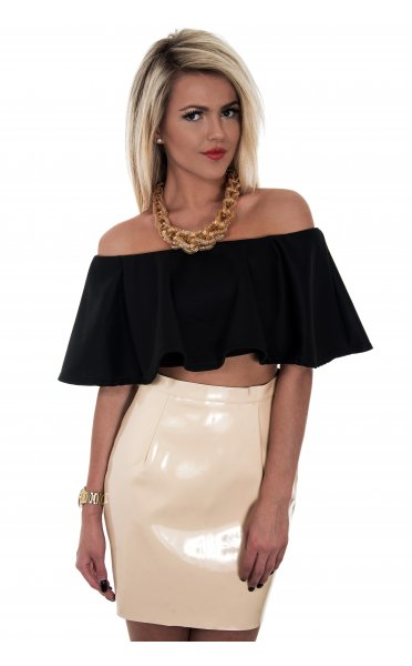 Vinyl Mini Skirt In Beige - from The Fashion Bible UK