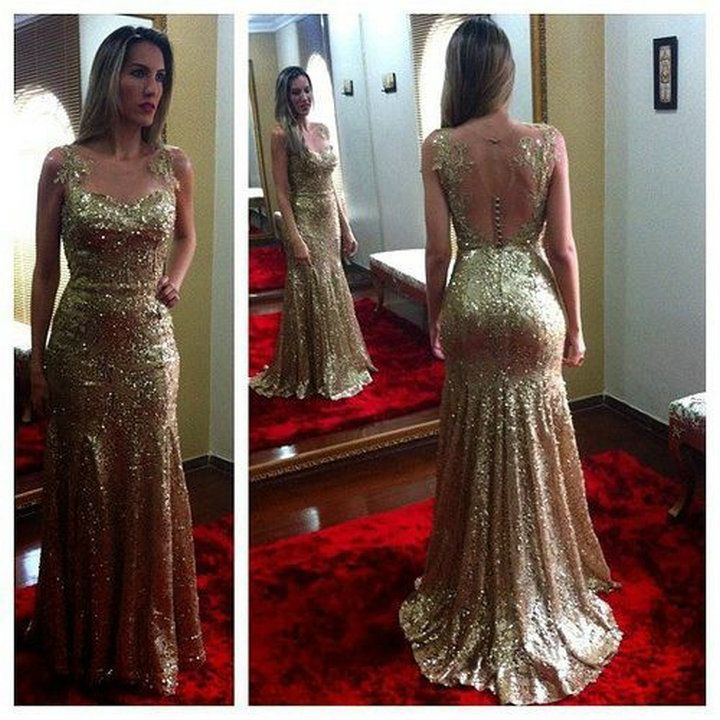 Strapless with Starps Sleeveless Gold Fully Sequined Mermaid Prom ...