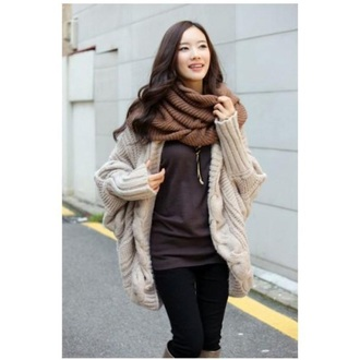 cardigan beige knitted cardigan coat fall outfits sweater winter sweater fashion kawaii girly streetwear style clothes scarf