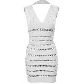 dress backless backless dress backless white dress white white dress white bandage dress jewels jeweled dress sexy party dress club dress women womens dresses womens clothing women's