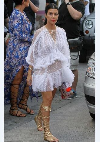 dress lace dress white lace dress summer dress summer outfits kourtney kardashian gladiators celebrities in white gold shoes