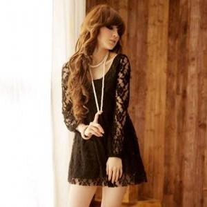 Princess Waist Floral Puff Sleeve Black Lace Dress [#8] on Luulla