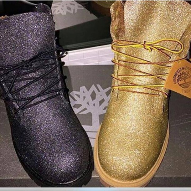 shoes gold timberlands glitter boots