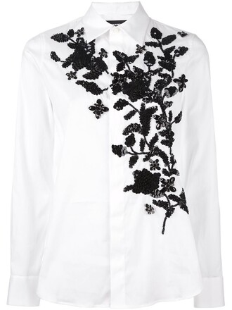 shirt embroidered floral white top