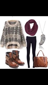 necklace scarf print blouse boots jumpsuit leggings design fall outfits pattern