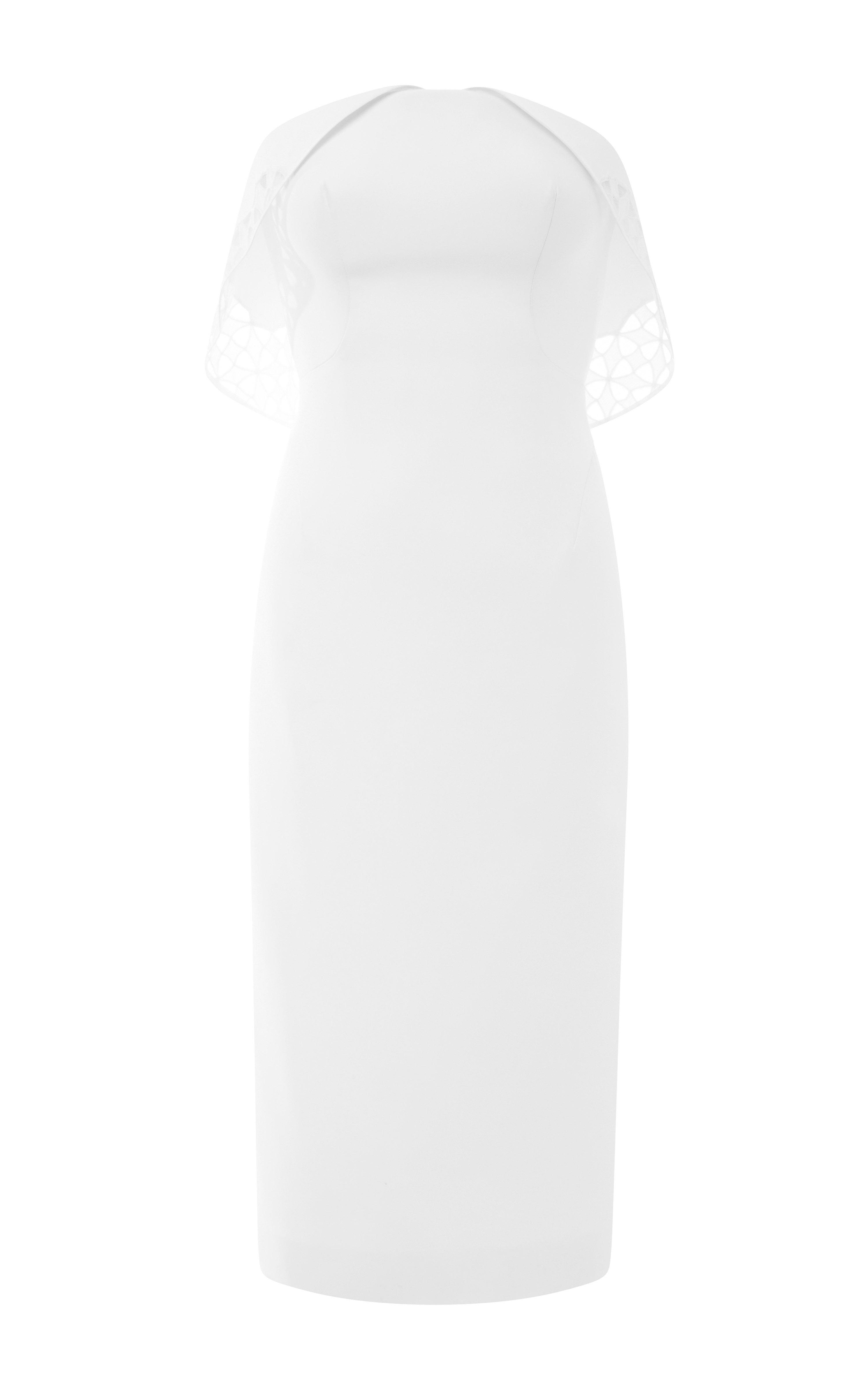 Cotton ottoman dress in ivory by zac posen