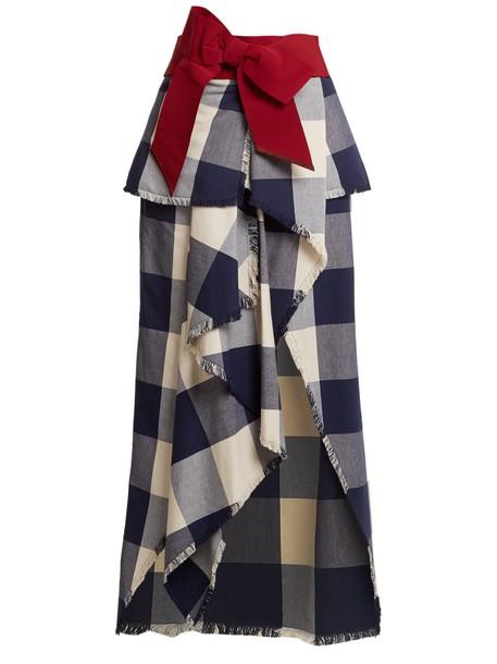 Johanna Ortiz skirt maxi skirt maxi plaid cotton navy white