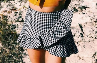 skirt plaid skirt black and white