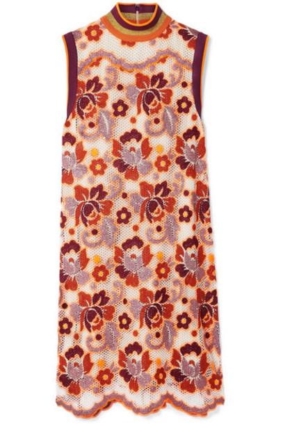 Burberry - Crocheted Lace Mini Dress - Orange