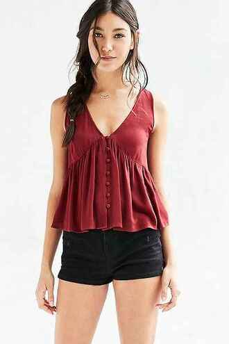 top burgundy burgundy top babydoll red top urban outfitters