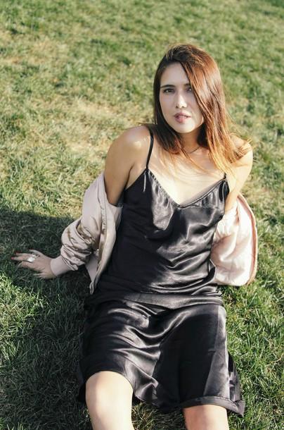 dylana suarez blogger jacket dress shoes jewels silk slip dress satin bomber bomber jacket pink bomber jacket