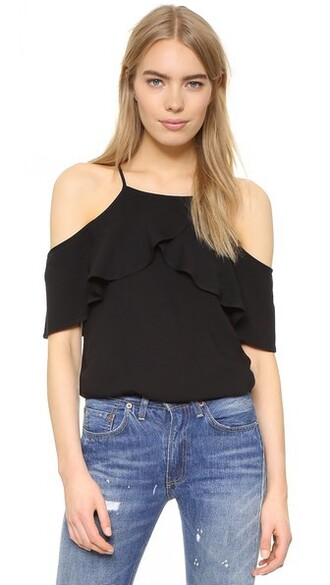 blouse cold black top