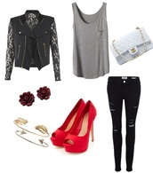 jeans,black,ripped jeans,bag,black lace,sweater