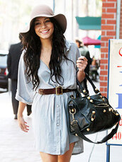 dress,hat,cute,summer,black,belt,vanessa hudgens,summer dress,bag,shirt dress,denim,floppy hat,beautiful