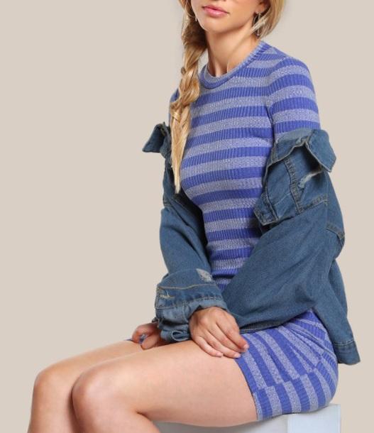 dress girly blue blue dress bodycon dress bodycon knit stripes striped dress