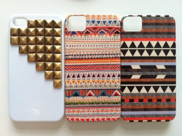 jewels studs aztec tribal pattern accessory iphone case hippie iphone 4s case bag iphone 5 cases