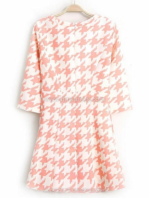 Pink White Half Sleeve Houndstooth Dress for HPL - Dmsdress.com