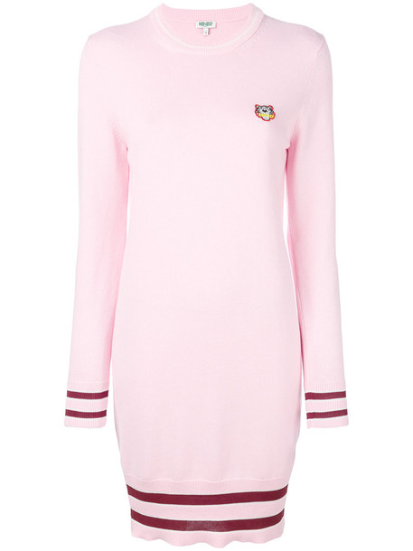 Kenzo dress sweater dress mini women tiger cotton purple pink