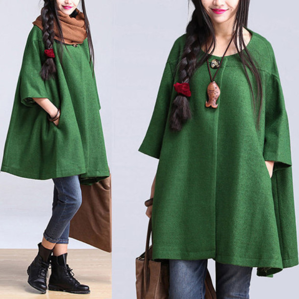 coat cape coat green wool coat