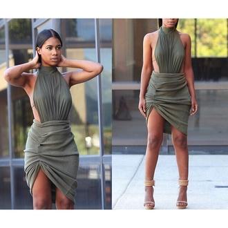 high neck green dress backless dress asymmetrical dress asymmetrical skirt