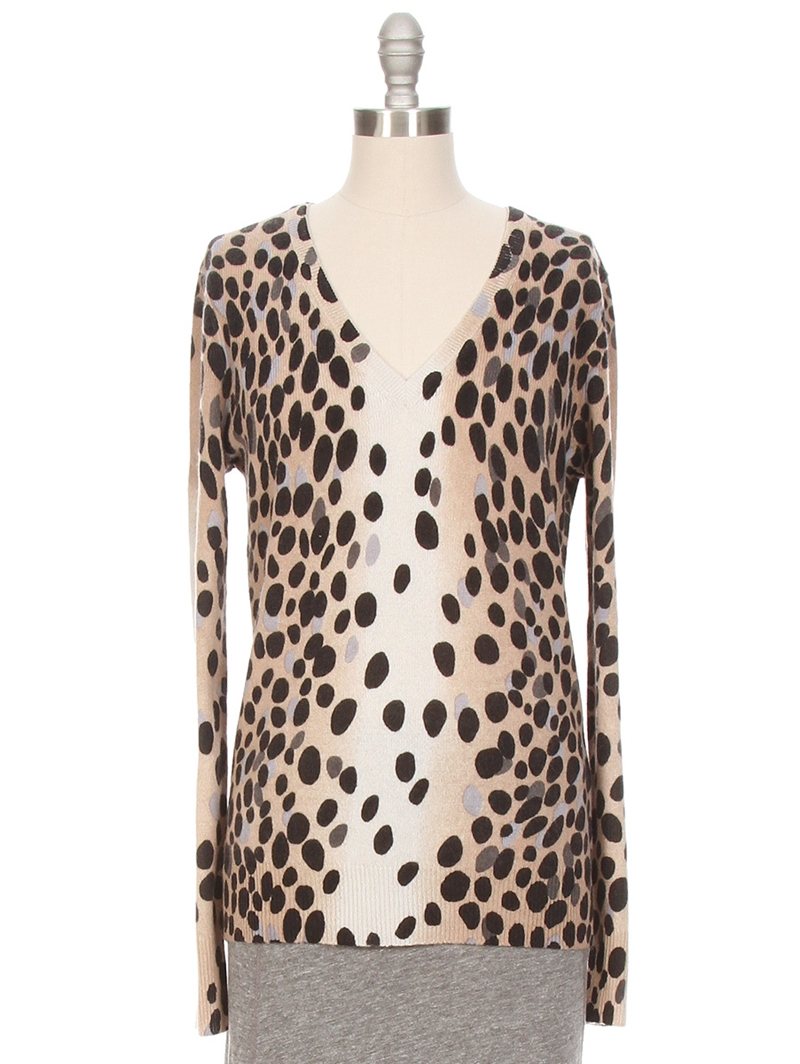 Cecile V-Neck Dalmation Sweater