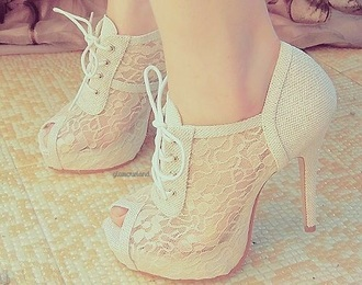 shoes high heels lace lace up white closed toe heels cute pretty classy formal boots