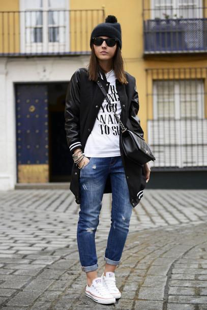 jacket long jersey bomber jacket black white jeans