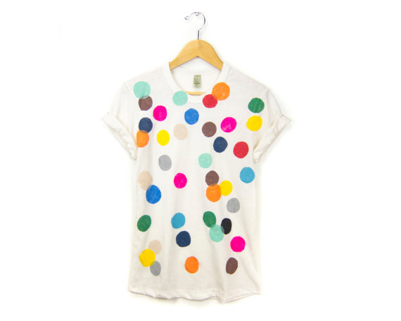 Colorful Confetti  Women's Hand Stenciled Crew by twostringjane
