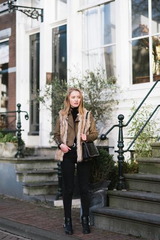 miss confidential blogger jacket jeans bag shoes vest faux fur jacket shoulder bag ankle boots