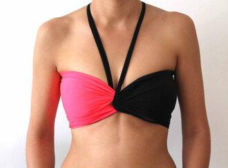 swimwear bikini top bikini bandeau bikini bandeau beach neon neon bikini bandeau swimsuit neon pink women fashion