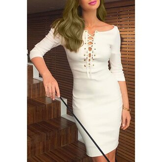 dress white criss cross three-quarter sleeves summer sexy rose wholesale-ap plunge v neck plunge dress plunge neckling plunge neckline long sleeves long sleeve dress white dress