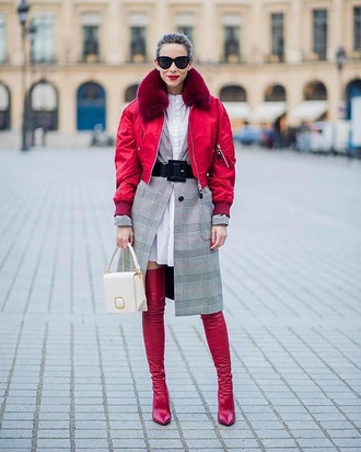 jacket red jacket cropped jacket fur collar jacket dress boots red boots white dress shirt dress over the knee boots over the knee