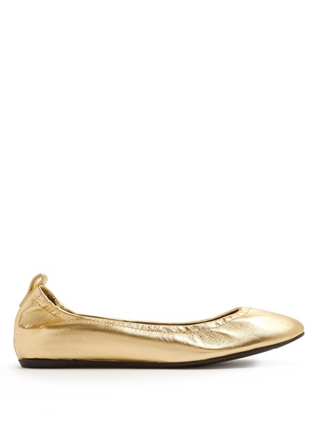 lanvin classic flats leather flats leather gold shoes