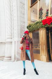 redsolesandredwine,blogger,hat,shoes,sunglasses,coat,ankle boots,christmas sweater,winter outfits,red sweater,winter sweater,brown coat,pom pom beanie