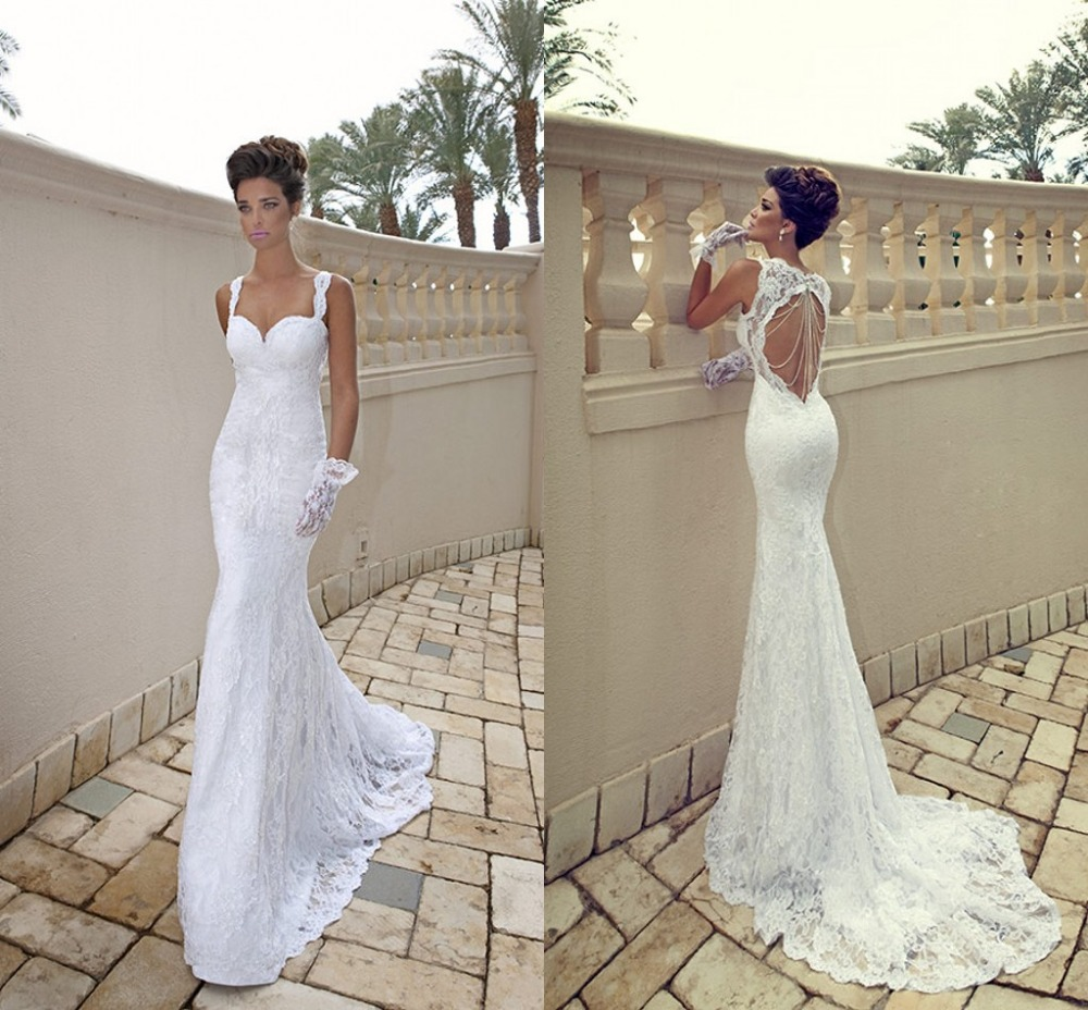 Buy shoulder straps scoop lace mermaid for Aliexpress mermaid wedding dresses
