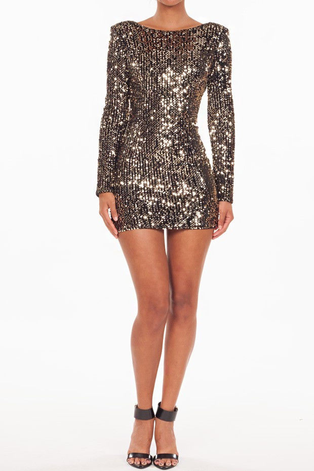 (anf) gold sequins low back dress
