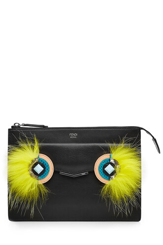 fur fox bag shoulder bag leather multicolor