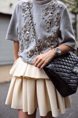 sweater skirt style grey sweater classy chanel bag embroidered