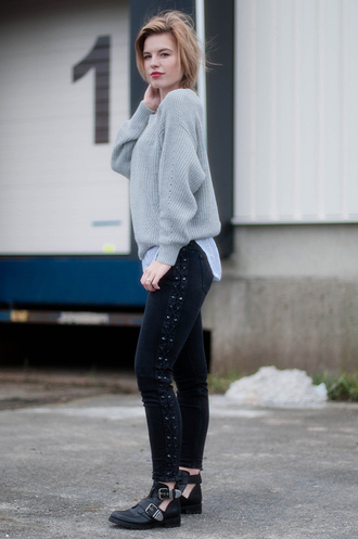 shoes grey sweater studded black jeans cutout buckle boots blogger