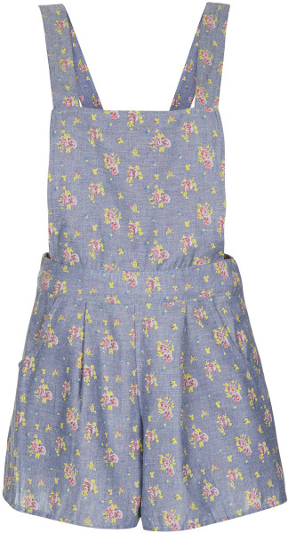 Topshop floral chambray playsuit in floral (denim)