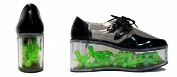 shoes platform shoes black alien ufo