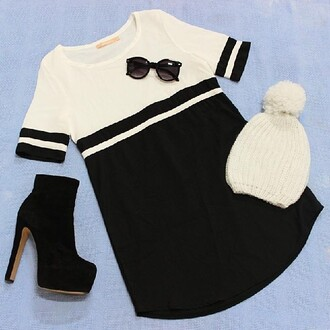 dress shift black and white dress beanie white beanie sunglasses