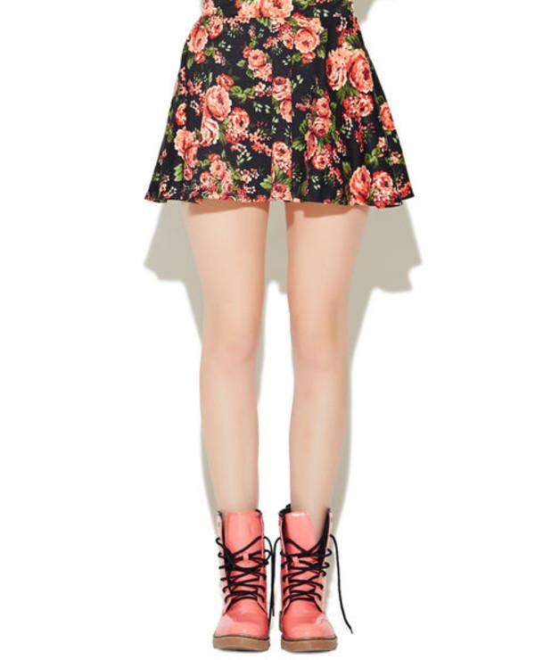 skirt floral ponte skirt skater skirt
